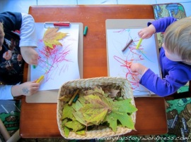 Reggio Emilia Project: Investigating Autumn Fall Leaves with Oil Pastels