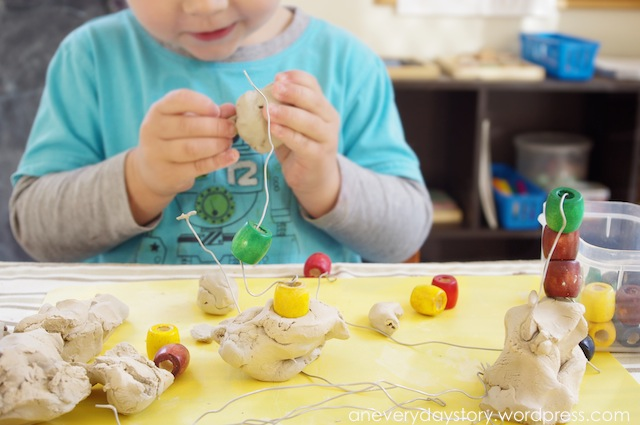 Using clay wire and bead sculptures for Waste material activity