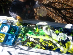 reggio emilia painting using mirrors outdoors {An Everyday Story}