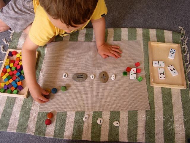 Reggio Math - using loose materials for adding