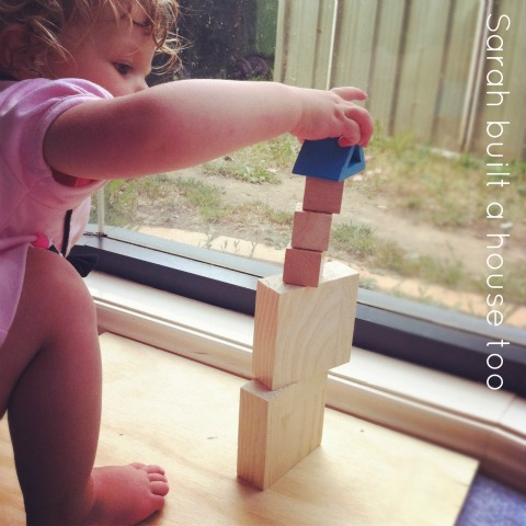 toddler and blocks