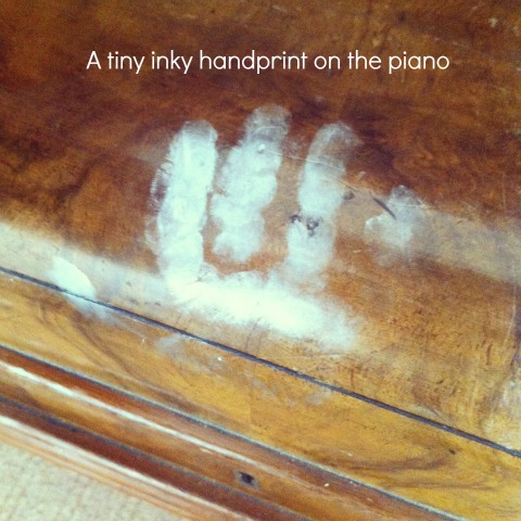 An inky handprint