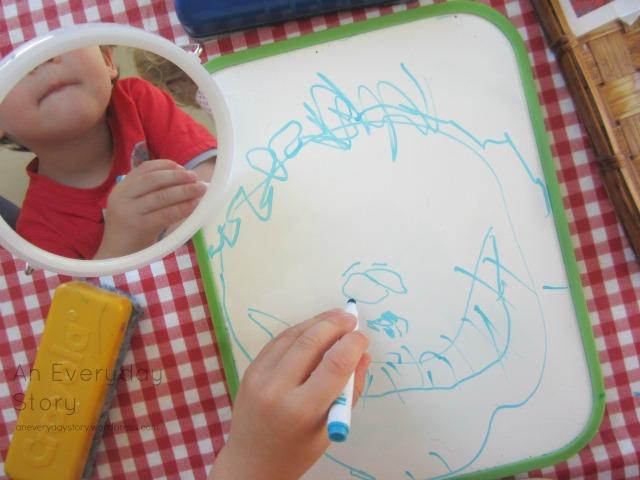Reggio activities - self portraits drawing eyes