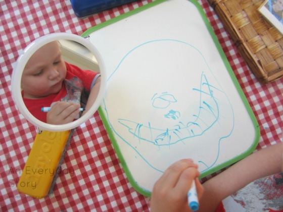 Reggio activities - self portraits drawing nostrils and a chin