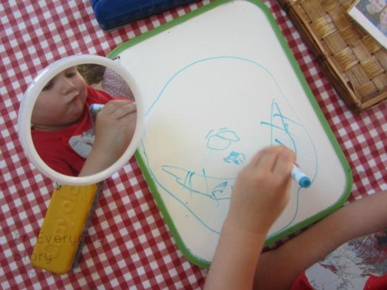 Reggio activities - self portraits drawing teeth