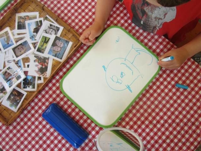 Reggio activities - self portraits exploring dry erase markers