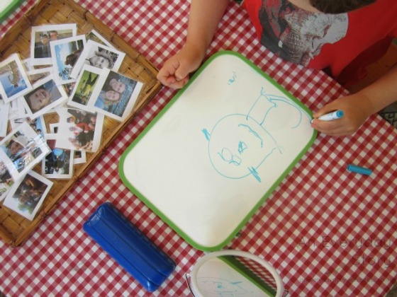 Reggio activities - self portraits exploring dry erase markers