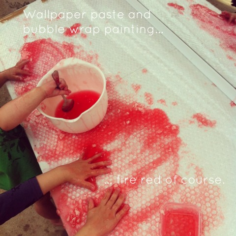 Wallpaper paste and bubble wrap painting - An Everyday Story