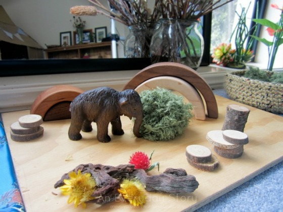 Reggio small world play scene using natural materials from An Everyday Story