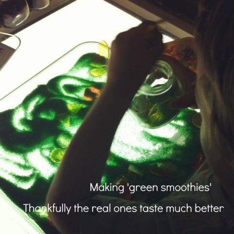 coloured salt on the light panel - An Everyday Story