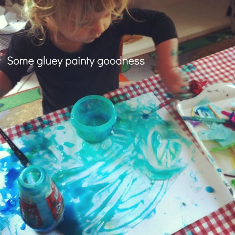 glue paint collage - An Everyday Story